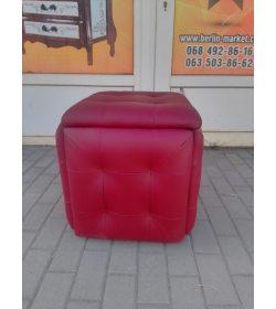 Пуфик кожаный красный 20200810005