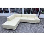 Угловой диван кожаный белый 13121910